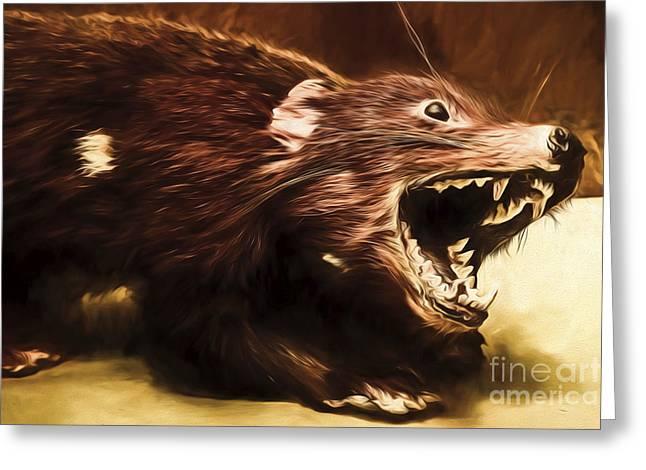 Tasmanian Devil Digital Painting Greeting Card by Jorgo Photography - Wall Art Gallery