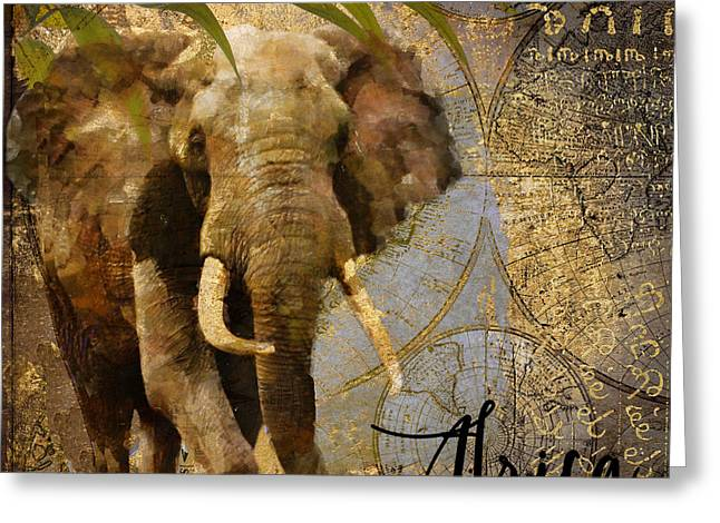 Preservation Greeting Cards - Taste of Africa Elephant Greeting Card by Mindy Sommers