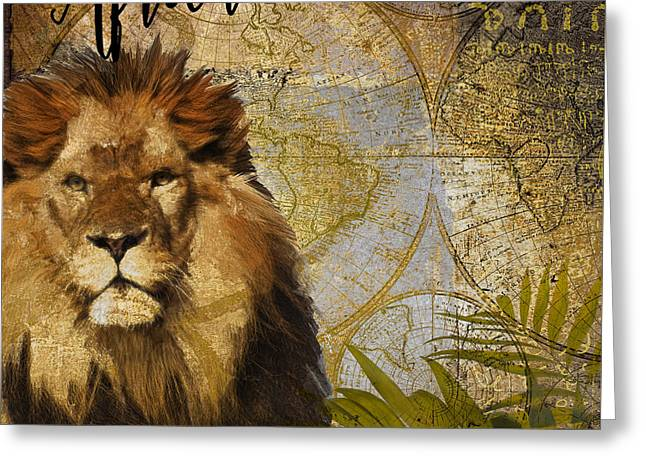 Taste Of Africa Lion Greeting Card by Mindy Sommers