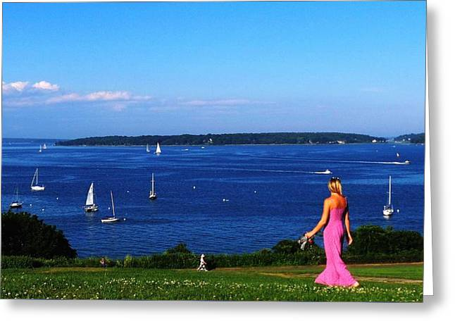 Blue Sailboats Greeting Cards - Taste Of Portland Harbor Greeting Card by Mike Breau