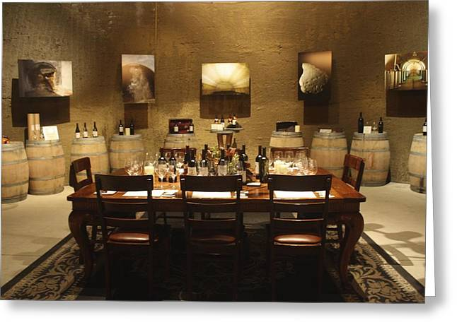 Tasting Room At Private Winery In Napa Greeting Card by Diane Leone