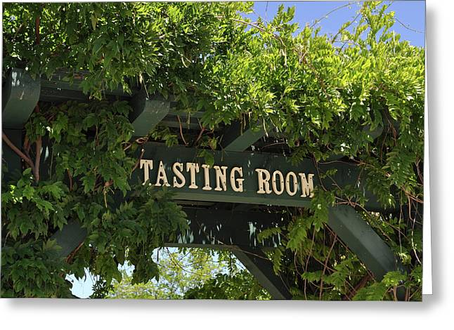 Zinfandel Greeting Cards - Tasting Room Sign Greeting Card by Brandon Bourdages