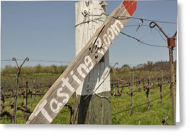 Zinfandel Greeting Cards - Tasting Room Sign Post Greeting Card by Brandon Bourdages