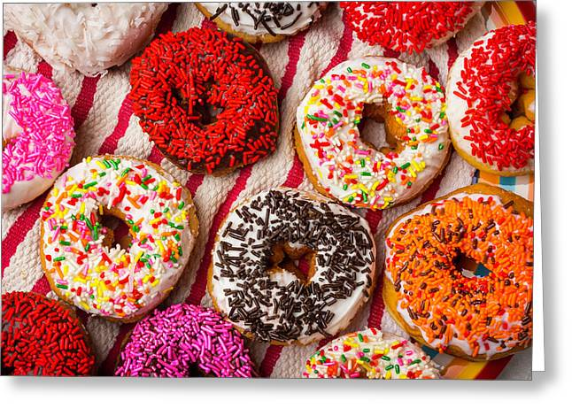 Tasty Colorful Donuts Greeting Card by Garry Gay