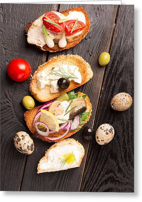 Tasty Tapas On A Wooden Black Table  Greeting Card by Vadim Goodwill