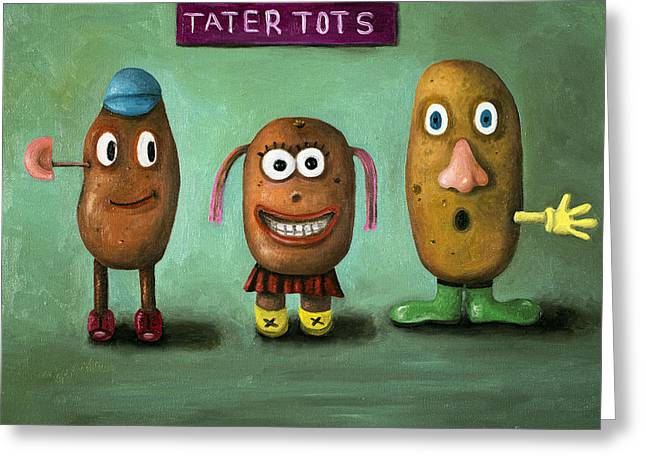 Child Toy Paintings Greeting Cards - Tater Tots Greeting Card by Leah Saulnier The Painting Maniac