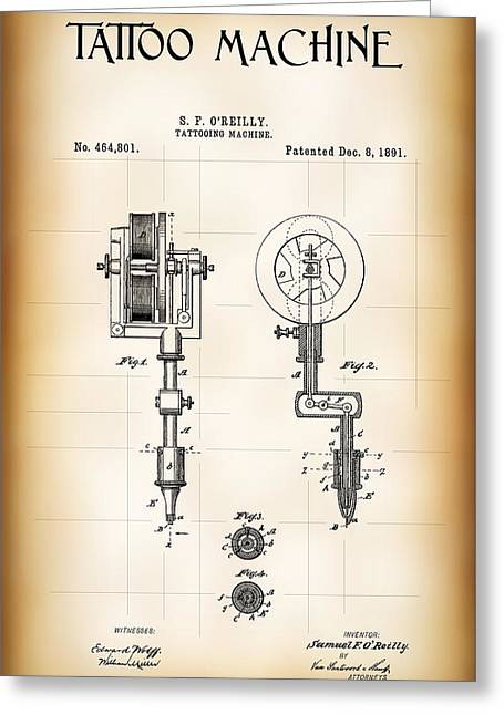 Tattooing Machine Patent 1891 Greeting Card by Daniel Hagerman