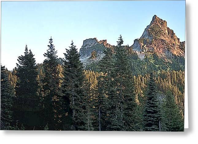 Snow Tree Prints Greeting Cards - Tatoosh Sunset Panorama  Greeting Card by Larry Darnell