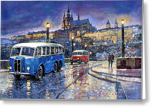 Tatra 85-91bus 1938 Praha Rnd Bus 1950 Prague Manesuv Bridge Greeting Card by Yuriy Shevchuk