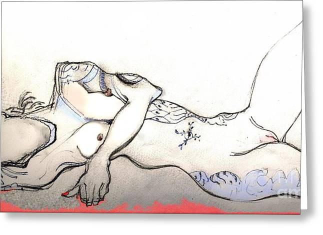 Tattoed Greeting Cards - Tattoed Lady - female nude Greeting Card by Carolyn Weltman