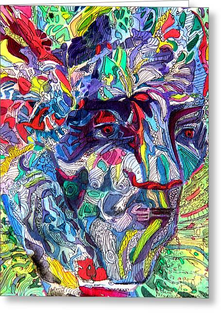 Hallucination Drawings Greeting Cards - Tattoo Man Greeting Card by Mindy Newman