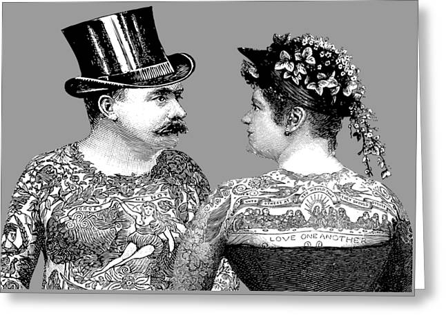 Tattooed Victorian Lovers Greeting Card by Eclectic at HeART