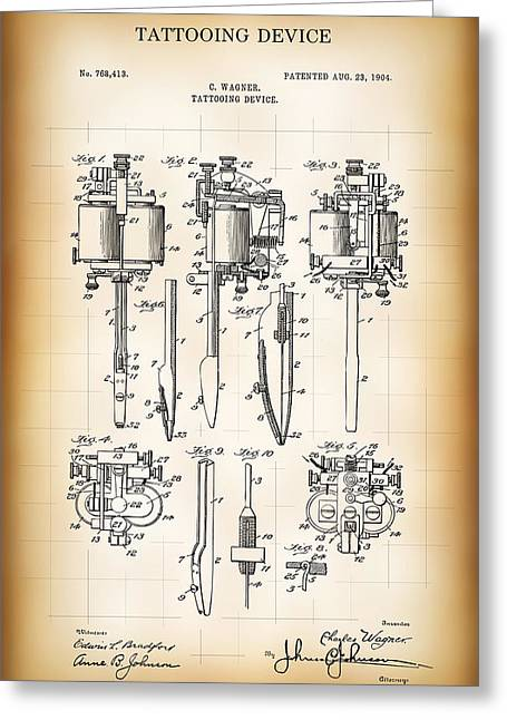 Tattooing Device Patent 1904 Greeting Card by Daniel Hagerman