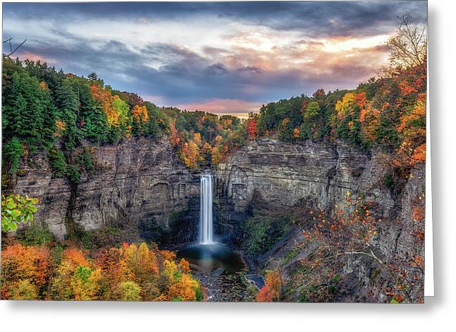 Ithaca Greeting Cards - Taughannock Autumn Dusk Greeting Card by Mark Papke