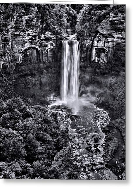 Taughannock Falls - Bw Greeting Card by Stephen Stookey