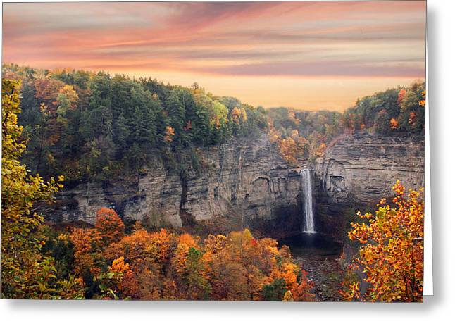 Ithaca Greeting Cards - Taughannock Sunset Greeting Card by Jessica Jenney