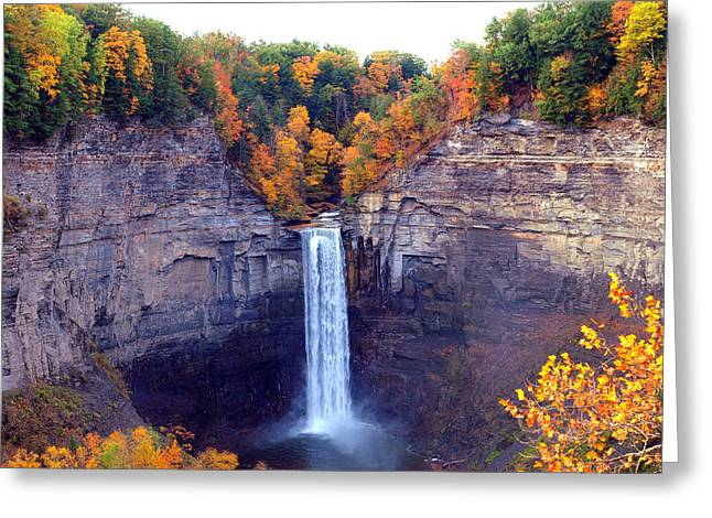 White River Scene Greeting Cards - Taughannock waterfalls in autumn Greeting Card by Paul Ge
