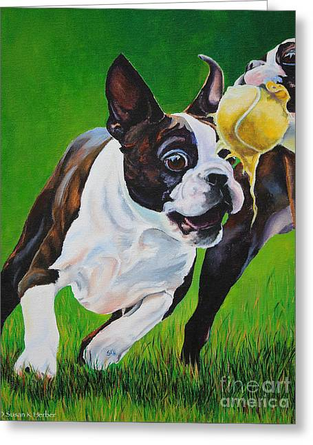 Puppies Paintings Greeting Cards - Taunting Greeting Card by Susan Herber