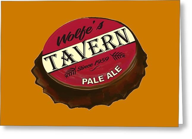 Bottlecaps Greeting Cards - Tavern Sign Greeting Card by Priscilla Wolfe