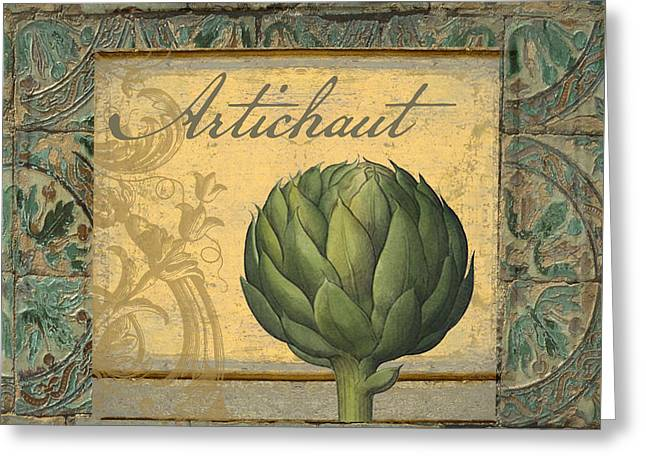 Tavolo, Italian Table, Artichoke Greeting Card by Mindy Sommers