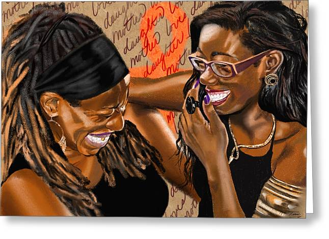 African-american Drawings Greeting Cards - Tawana and Ashari Greeting Card by Terri Meredith