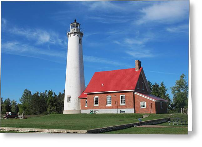 Historic Site Greeting Cards - Tawas Point Lighthouse 4 Greeting Card by Cindy Kellogg