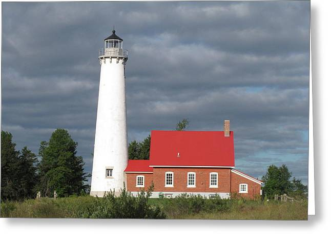 Historic Site Greeting Cards - Tawas Point Lighthouse 5 Greeting Card by Cindy Kellogg