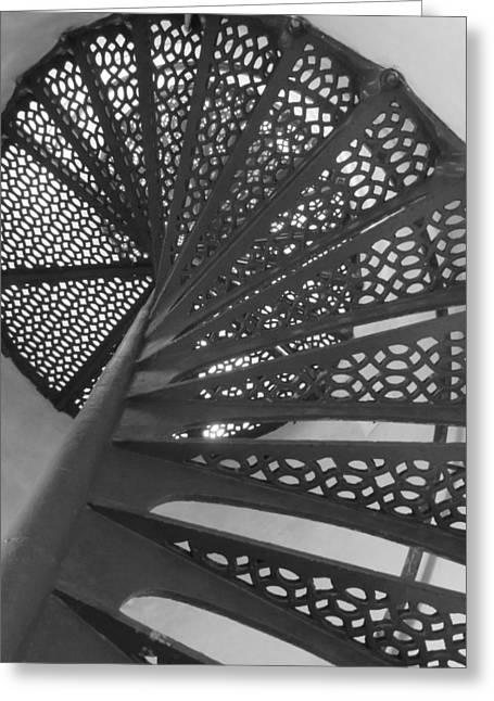 Historic Site Greeting Cards - Tawas Point Lighthouse Stairway Greeting Card by Cindy Kellogg