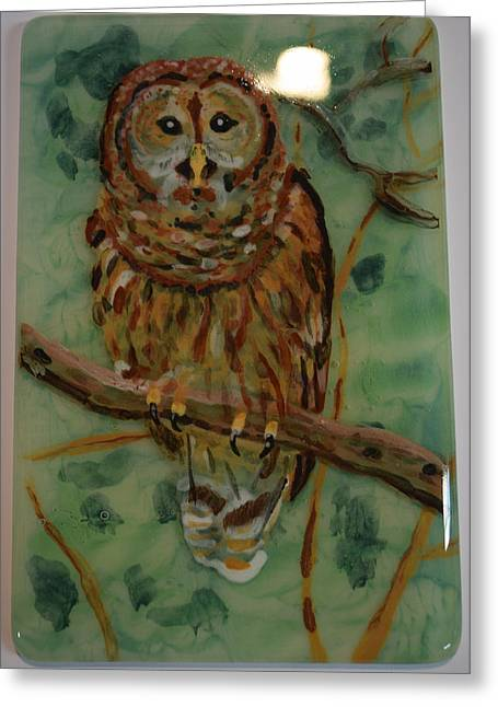 Owls Glass Greeting Cards - Tawny owl Greeting Card by Rosalind Duffy
