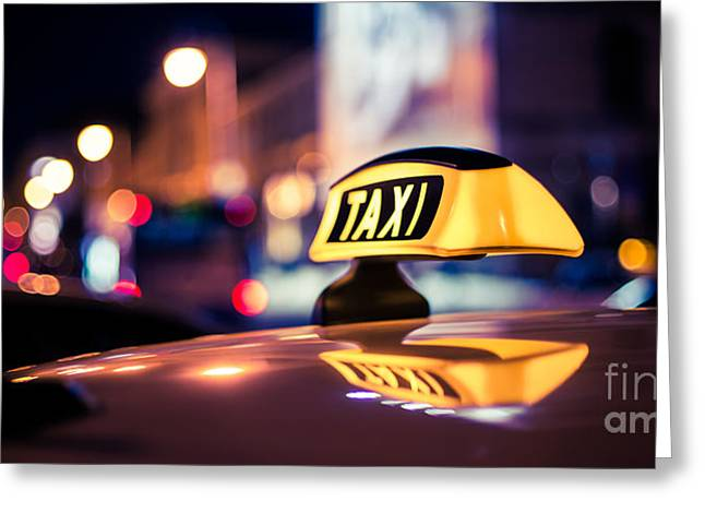 Taxi - Blue Greeting Card by Hannes Cmarits
