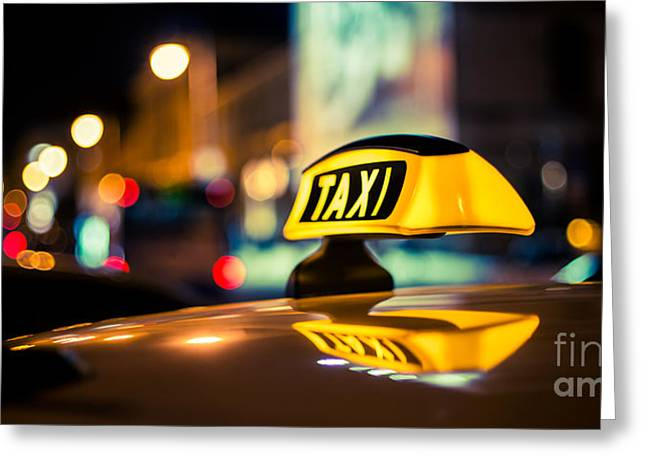 Hannes Cmarits Greeting Cards - Taxi Greeting Card by Hannes Cmarits