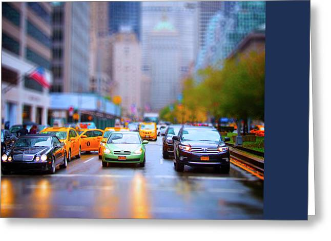 Taxi Greeting Card by Mark Andrew Thomas