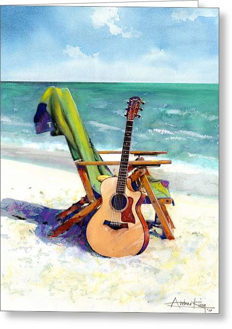 Pastel Greeting Card featuring the painting Taylor At The Beach by Andrew King
