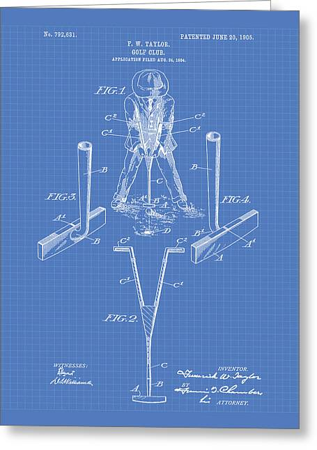 Technical Digital Art Greeting Cards - Taylor Golf Club 1905 Patent Art  - Blueprint Greeting Card by Ray Tawer