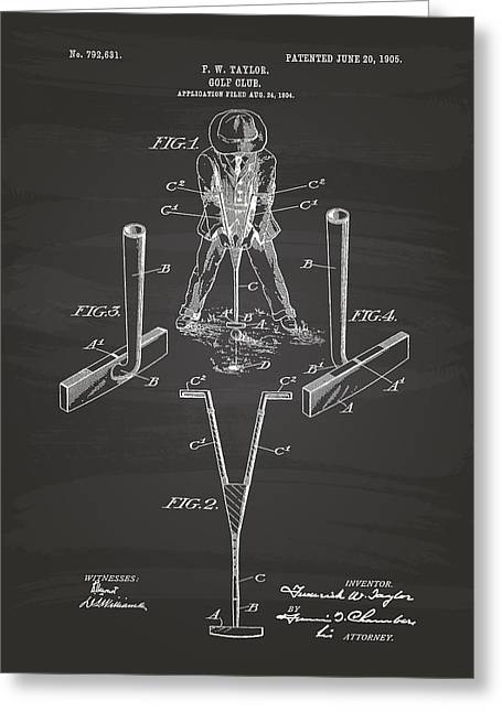 Technical Digital Art Greeting Cards - Taylor Golf Club 1905 Patent Art  - Chalkboard Greeting Card by Ray Tawer