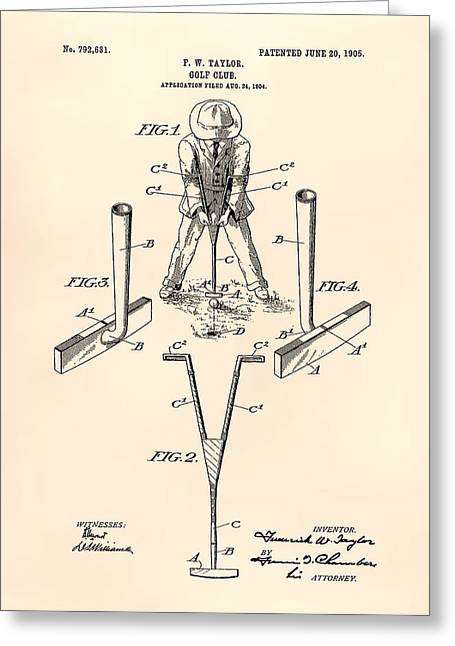 Technical Digital Art Greeting Cards - Taylor Golf Club 1905 Patent Art  - Old Peper Greeting Card by Ray Tawer