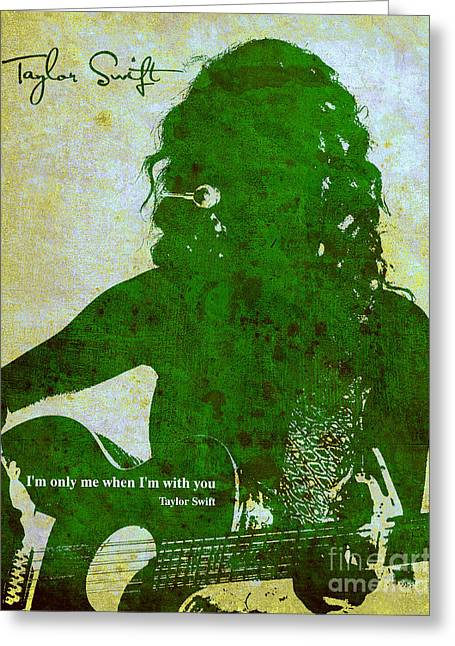Guitar Player Mixed Media Greeting Cards - Taylor Green profile Greeting Card by Pablo Franchi