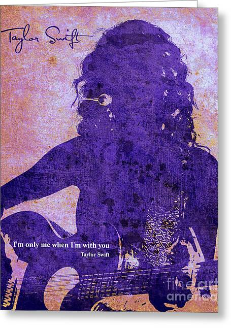 Guitar Player Mixed Media Greeting Cards - Taylor purple profile Greeting Card by Pablo Franchi
