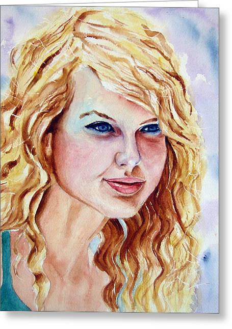 Taylor Swift Greeting Card by Brian Degnon