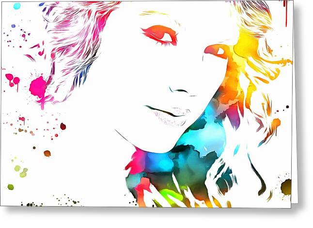 Taylor Swift Greeting Cards - Taylor Swift Colorful Paint Splatter Greeting Card by Dan Sproul