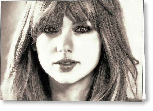 Taylor Swift - Glowing Beauty Greeting Card by Robert Radmore