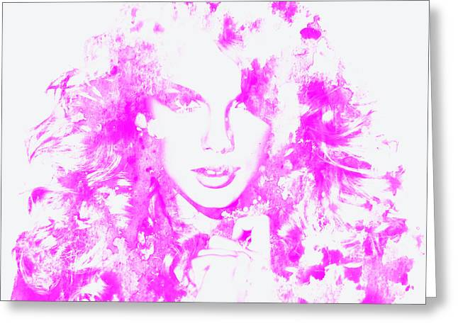 Taylor Swift Paintings Greeting Cards - Taylor Swift Paint Splatter 3c Greeting Card by Brian Reaves