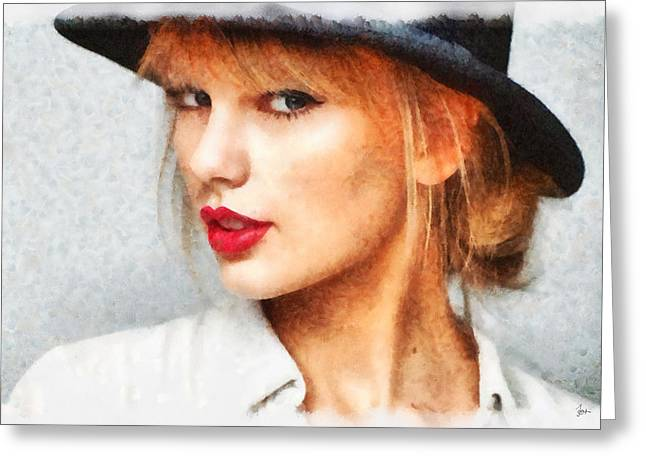 D.w. Paintings Greeting Cards - Taylor Swift Painting On Canvas Greeting Card by Sir Josef  Putsche Social Critic