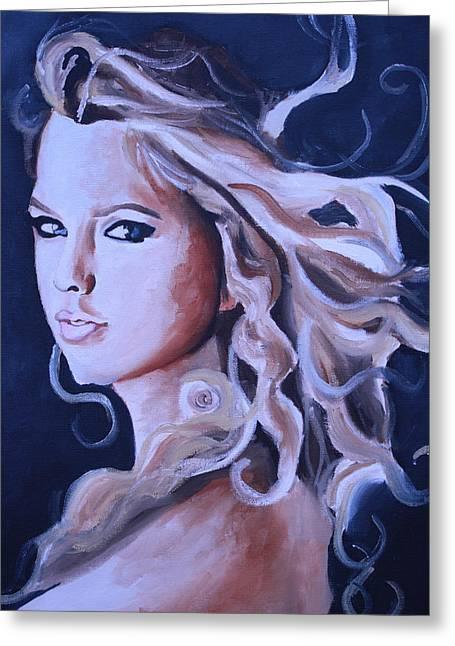 Taylor Swift Portrait Greeting Card by Mikayla Ziegler