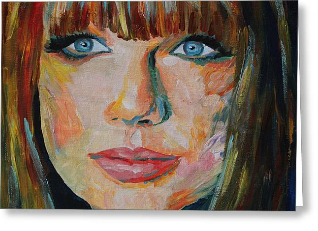 Super Stars Greeting Cards - Taylor Swift Portrait Greeting Card by Robert Yaeger