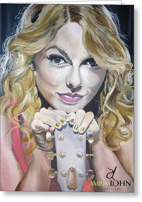 Taylor Swift Portrait Greeting Card by Zalika Ledeatte- Williams