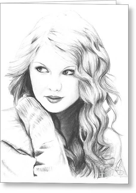 Charcoal Greeting Cards - Taylor Swift Greeting Card by Rosalinda Markle