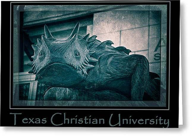 Mascots Greeting Cards - TCU Horned Frog Poster Cobalt Greeting Card by Joan Carroll