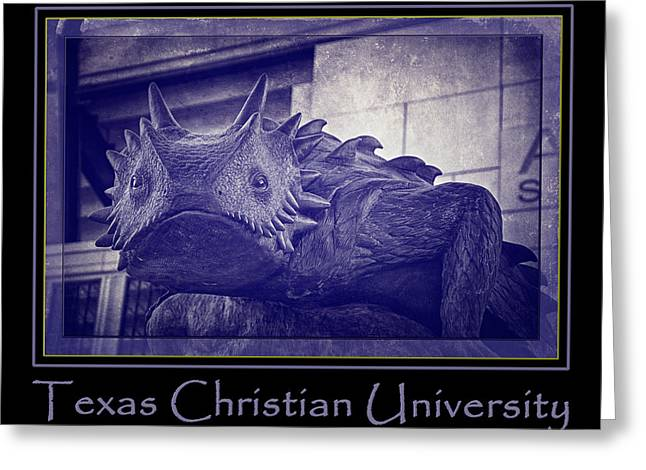 Carter Photographs Greeting Cards - TCU Horned Frog Poster Purple Greeting Card by Joan Carroll