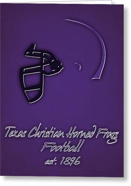 Tcu Horned Frogs Helmet Greeting Card by Joe Hamilton